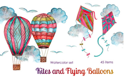 Flying ballons and kites - watercolor set