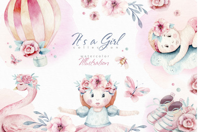 Baby girl watercolor collection