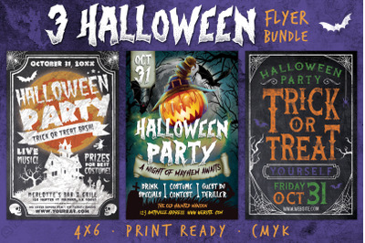 3 Halloween Chalk Flyer Bundle