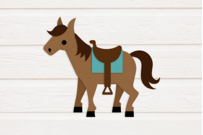 Horse with Saddle | SVG | PNG | DXF
