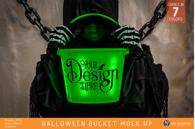 Light Up Halloween Bucket Mock ups, styled photos