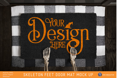 Halloween Black Door Mat mock up - Skeleton Feet