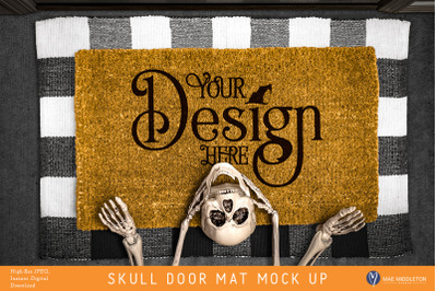 Halloween Skull Door Mat mock up