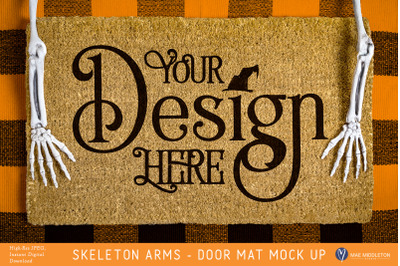 Halloween Door Mat mock up with skeleton arms
