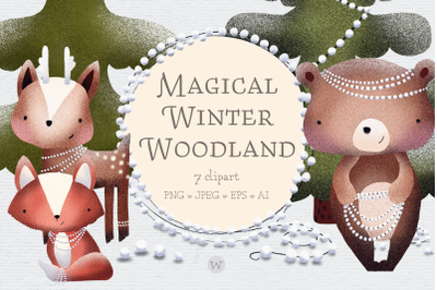 Woodland creatures clipart, winter clipart, animal clipart