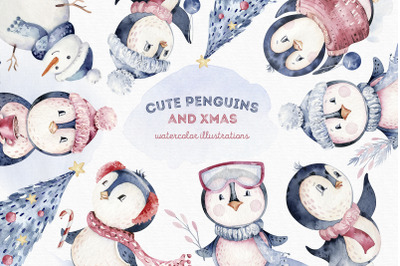 Cute penguins and Xmas