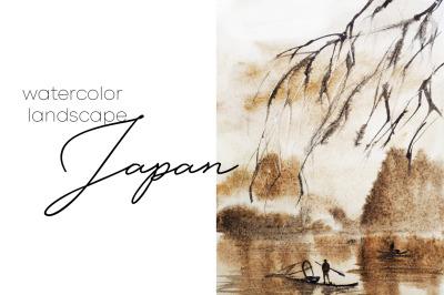 watercolor landscape japan