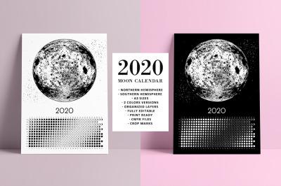 Moon Calendar 2020 Black & White