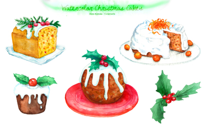 Watercolor Christmas Cakes