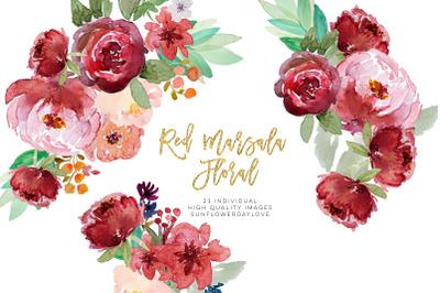 Red marsala floral watercolor clipart, vintage boho burgundy