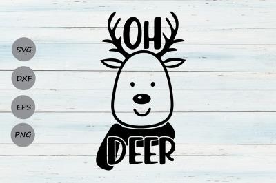 Oh Deer Svg, Christmas Svg, Deer Svg, Reindeer Svg, Winter Svg.