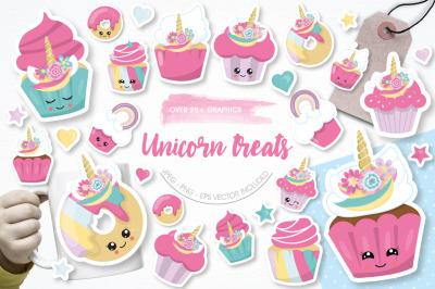 Unicorn Treats graphic and illustrations