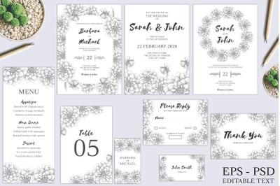 Dahlia Sketch Flower Wedding Invitation Bundle