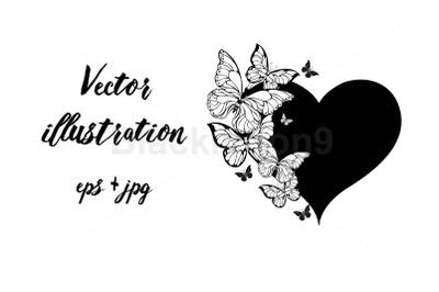 Black Heart with Contour Butterflies