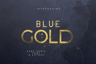 Blue Gold sans serif font + Extras