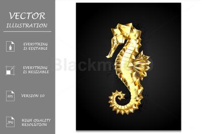 Gold Polygonal Seahorse