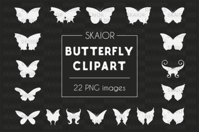 Chalkboard White Butterfly Clipart