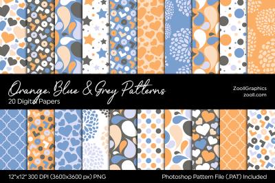 Orange, Blue And Grey Digital Papers
