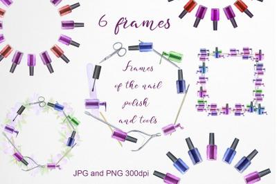 Frames of the nail polish and tools