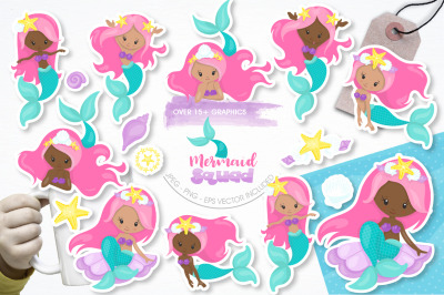 Mermaid Squad graphic and illustrations