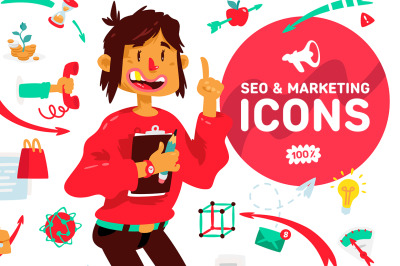 A set of icons on the theme of SEO and Marketing.