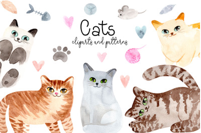 Watercolor Cute Cats. Patterns and Cliparts