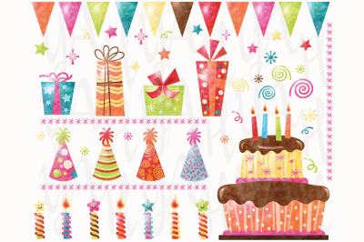 Watercolor Birthday Collections Set