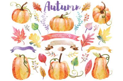 Autumn Watercolor Pumpkin Set