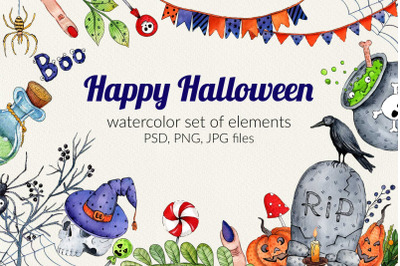Watercolor set for Halloween