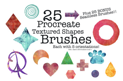 HHCD 25 Procreate Textured Shapes Brush Stamps