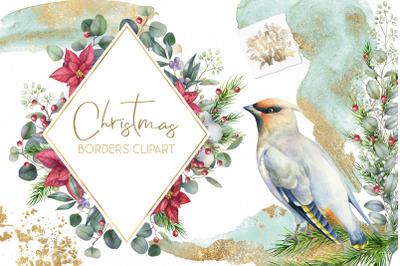 Christmas watercolor border, Poinsettia wedding Bouquet png