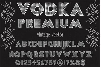 vintage Typeface  vector label design vodka