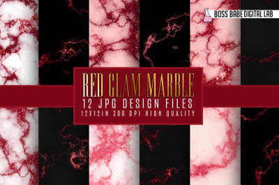 Red Glam marble digital paper
