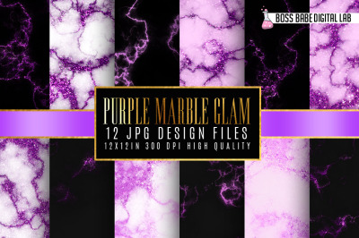 Purple Glam marble digital paper