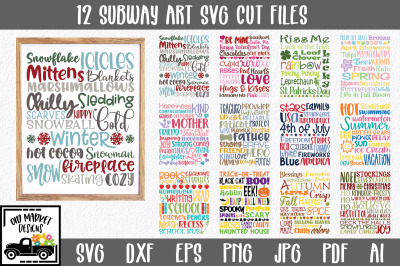 Holiday Subway Art SVG Bundle with 12 SVG Cut Files
