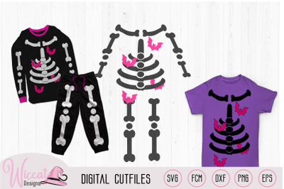 Girl skeleton with bats, halloween costume svg