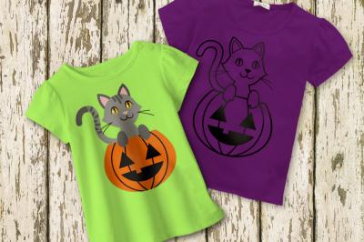 Halloween Pumpkin Cat | SVG | PNG | DXF
