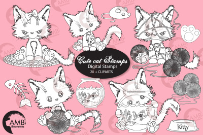 Cutey Cat Digital stamps, bows, butterflies, goldfish stamps AMB- 2655