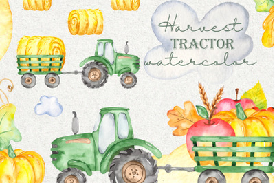 Harvest green tractor with trailer watercolor clipart