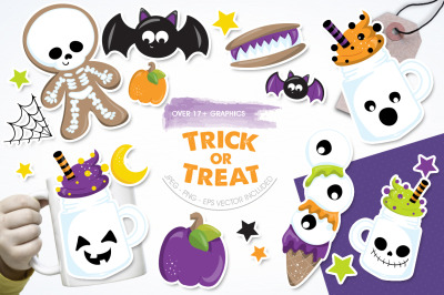 Trick or Treat graphic and illustrations