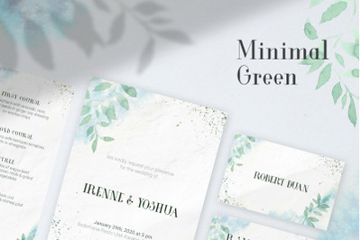 Minimal Green Watercolo Wedding Invitation