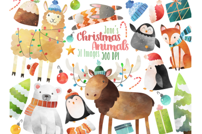 Watercolor Christmas Animals Clipart