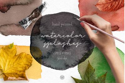 Fall clipart, watercolor splash clipart, autumn clipart