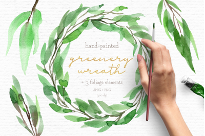 Watercolor wreath clipart, greenery clipart, wedding clipart