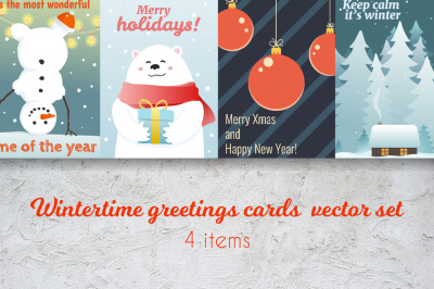 Wintertime postcards vector set