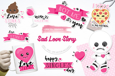 Sad Love Story graphic and illustrations
