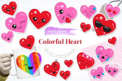 Colorful Heart graphic and illustrations
