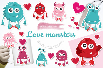 Love Monster graphic and illustrations