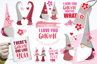 I love you Gnome graphic and illustrations