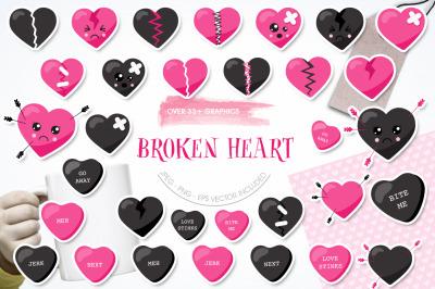 Broken Heart graphic and illustration